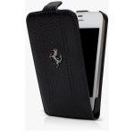 Kott Ferrari FF Series Flip-Case Grained for Apple iPhone 5, Orig. Black